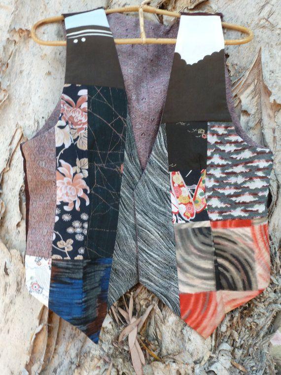 Vintage Kimono Patchwork Vest- Reversible. Made from many different kimonos. https://www.etsy.com/listing/117175457/vintage-kimono-patchwork-vest-reversible