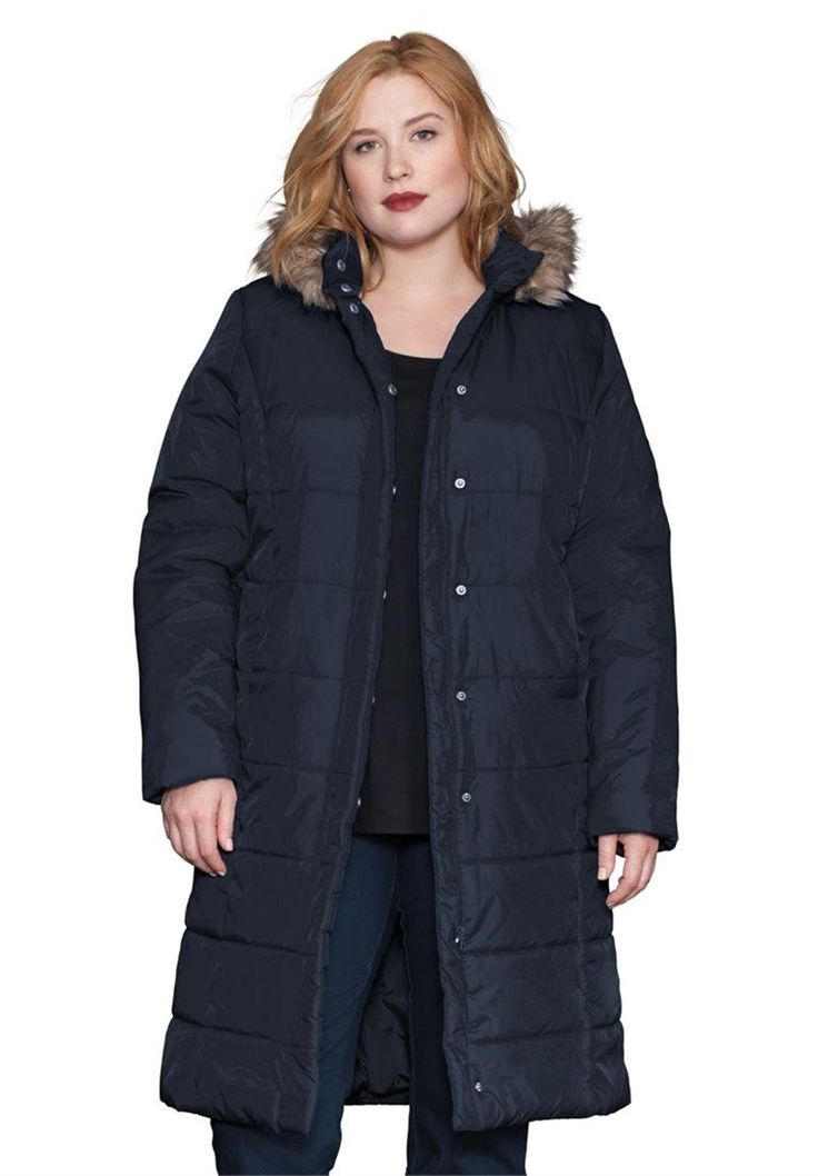 Roamans Women's Plus Size Quilted Knee Length Parka -- See this awesome image  : Plus size coats