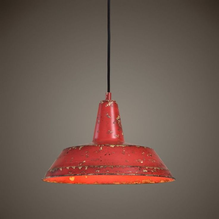 Barn Light Pendant Red 14-inch Wide by Uttermost Lighting at Destination Lighting