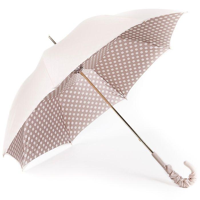 Cream Polka Dots Double Canopy Luxury Umbrella by Pasotti - Brolliesgalore