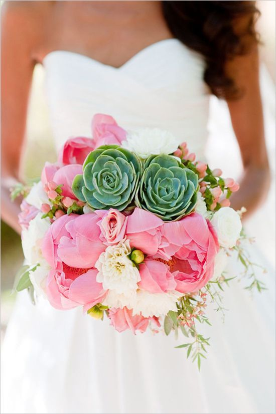 Peonies and succulents | Wedding bouquet