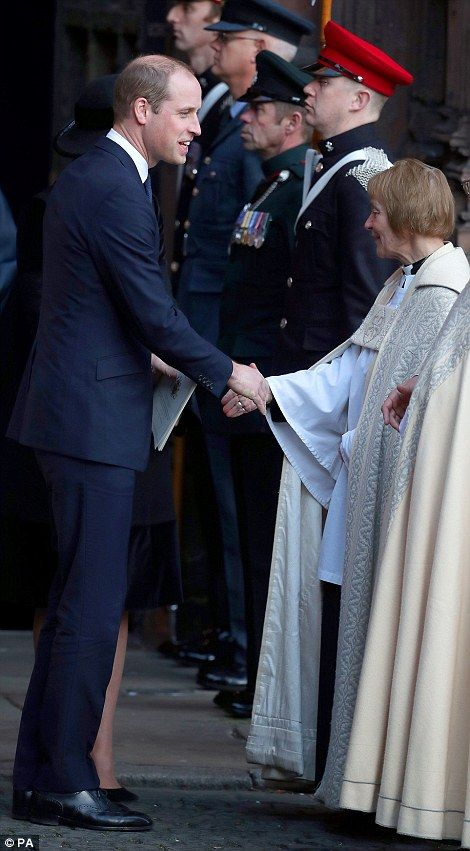 The Duke of Cambridge leaves the memorial service at chester cathedral on monday afternoon