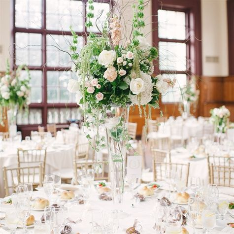 Tall Blush and Ivory Floral Centerpieces - a version which is not as tall so people can still talk and communicate. Description from pinterest.com. I searched for this on bing.com/images