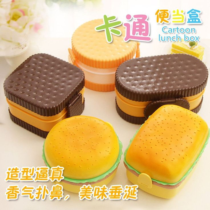 8 color fun life hamburger biscuit japan style double tier bento lunch box kitchen japan style. Black Bedroom Furniture Sets. Home Design Ideas