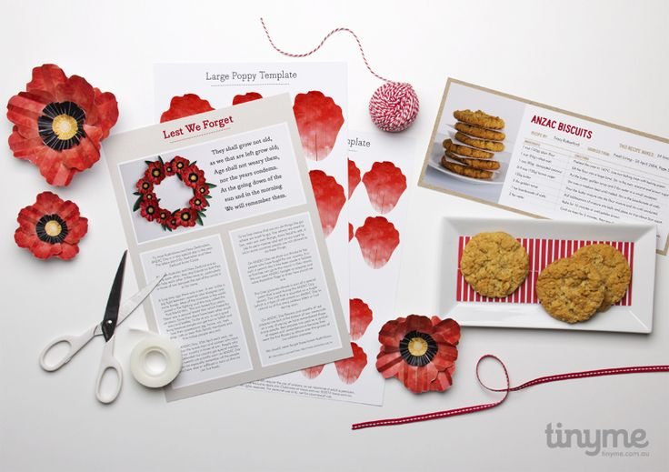 Commemorate ANZAC day with this printables. Paper Poppies, Printable Activities, Paper Poppy Memorial Wreath, Anzac Biscuit Recipe Card