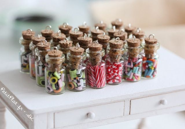 Mini Polymer clay candy jar charms by PetitePlat