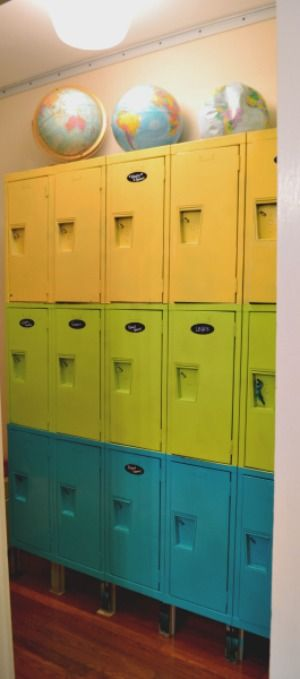 Re-purposed Old Lockers Into Toy Storage.  LoVE it Would be awesome in a garage too.  I need old school lockers!!!!!!