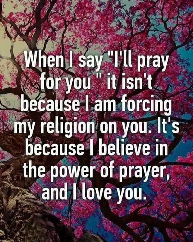 "Know someone in need of prayer? Tell them. I have an agnostic friend who I tell I am praying for when she's having a hard day. She knows what I believe and she knows I don't believe in ""good vibes"" or ""good thoughts"" as the same as prayer.  And you know what? Despite our very polar opposite views on abortion, she knows I will stop to pray for her when she needs me.  Be that for someone in your life and don't worry about offending them. Be #Catholic unapologetically. #Pray. ~ Martina ❤️"