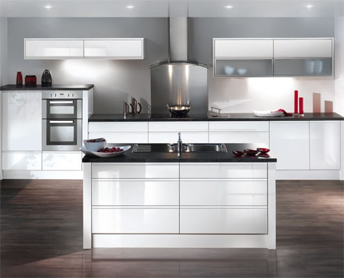 White Kitchen No Handles white gloss kitchen, no handles, dark counter | new kitchen