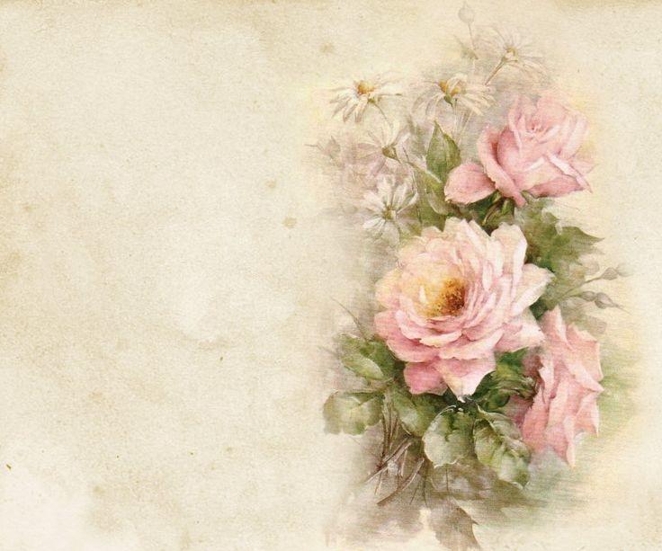 Февраля, ретро картинка с цветами