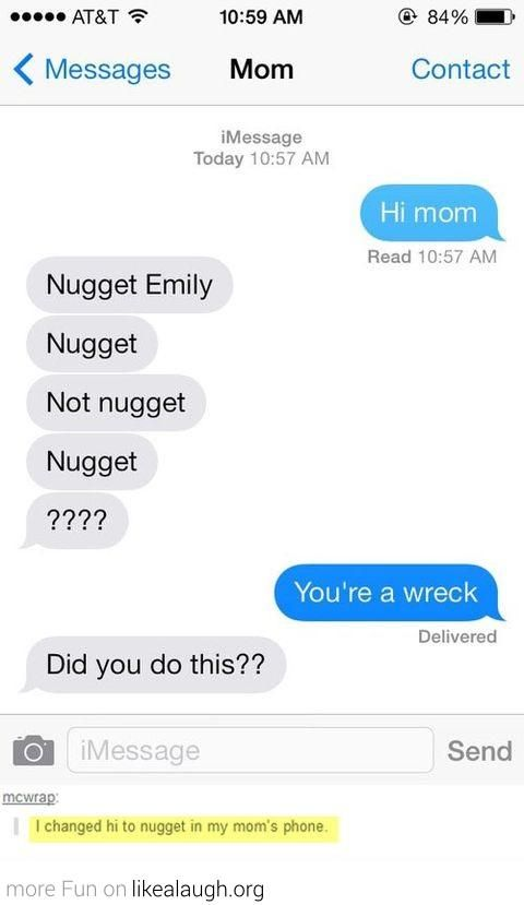 Nugget Emily: Funny Texts, Funny Pics, Text Messages, Funny Stuff, Funnies, Mom