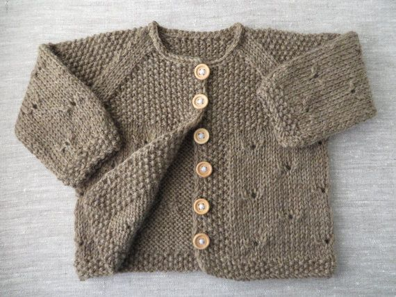 MADE TO ORDER///Custom Hand Knit Seed Stitch and Eyelet Lace Baby Sweater in 24 Different Colors///You Choose the Size