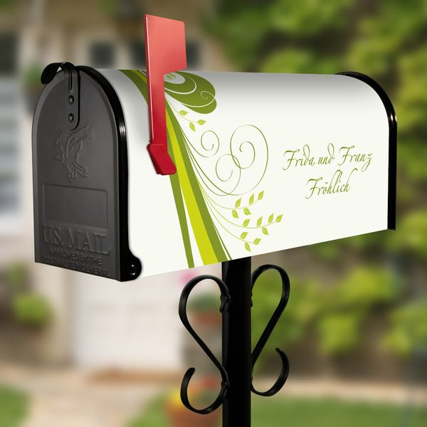 US Mailbox mit Standfuß Schwarz Motiv Green Swirl von banjado via dawanda.com