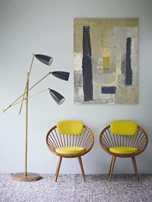 mid century chairs (Yngve Ekstrom) great colour combination with flooring and painting