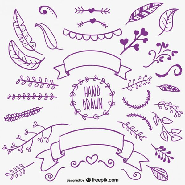 Vector elements: branches, ribbons and feathers | #hand #drawn #freebie
