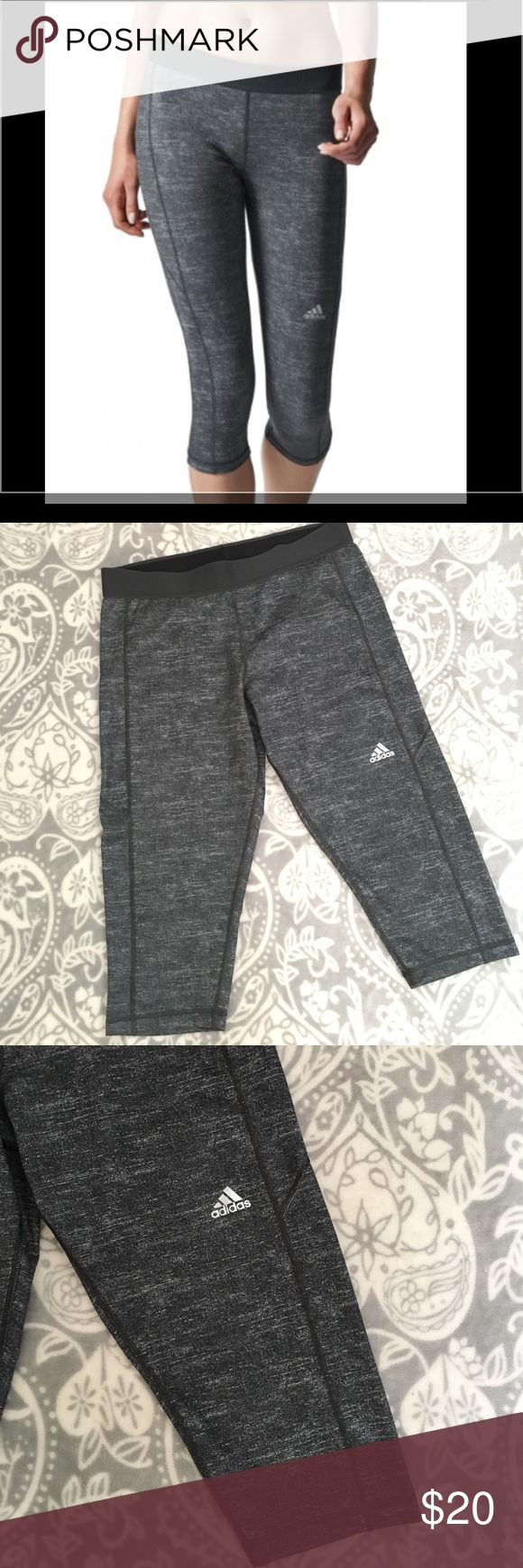 New Listing! Adidas Techfit Capris Adidas Techfit Crops in Dark Grey Heather/Matte Silver. These women's capris are made with techfit® that focuses key muscle groups to help you work hard. The three-quarter training tights have supportive compression fabric and feature UPF 50+ sun protection that lets you take your regimen beyond the gym. And it's all made from climalite® fabric.  82% polyester / 18% elastane. Size Large! EUC! Adidas Pants Leggings
