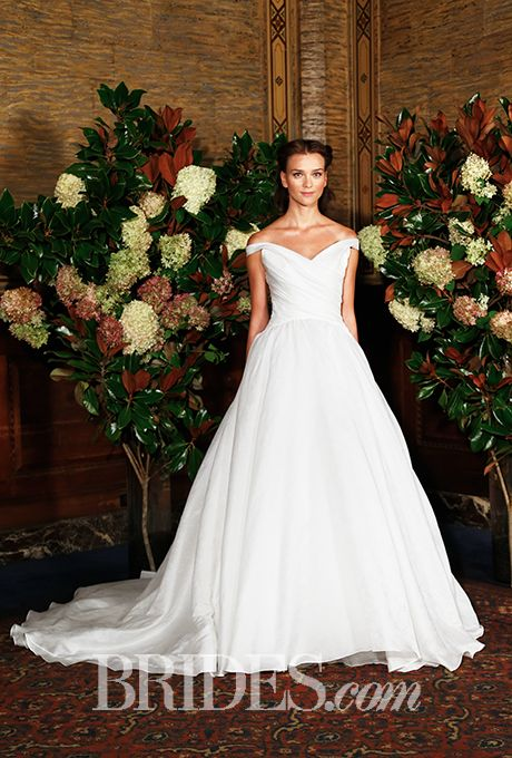Brides.com: The New Classic: 45 Off-the-Shoulder Wedding Dresses  Wedding dress by Austin ScarlettPhoto: George Chinsee