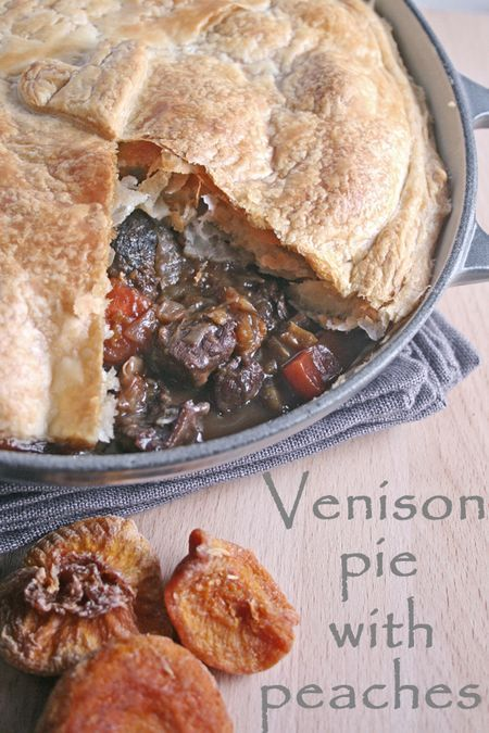 Venison Pie with Carrots, Shallots,  Red Wine and Dried Peaches