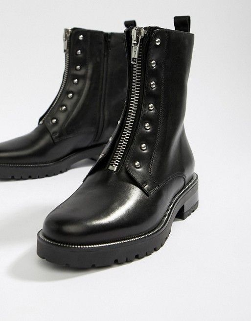 203ccb0f5fa Dune Raffi black leather studded zip front ankle boot | shoes ...