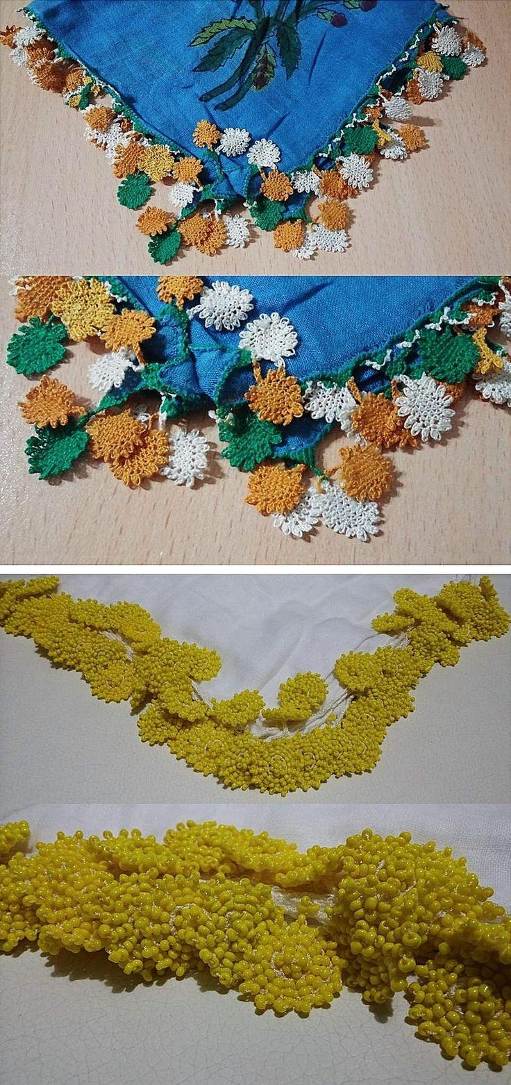 Two 'oyalı yazma' with similar design of the edging. From Kozak Yaylası, near Bergama. Top: (printed cotton) headscarf edged with Turkish lace, ca. 1950-1975. Bottom: (white silk) headscarf edged with 'boncuklu oya' (bead-work edging), ca. 1975. (Source: Tekin Uludoğan, Balıkesir).*****