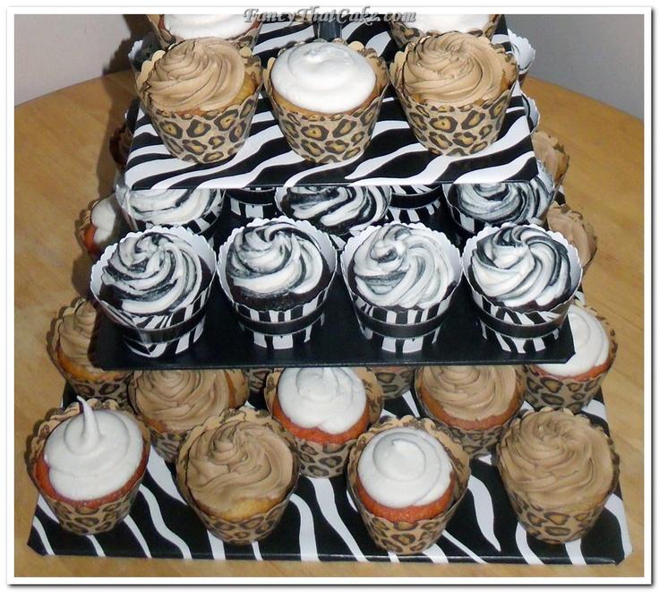 Wild Animal Prints 50th Birthday Cake And Cupcakes (zebra and cheetah print)