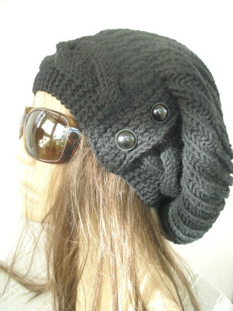 Hand Knit Hat Womens hat   Slouchy Beanie cable Knit Hat by Ebruk, $38.00