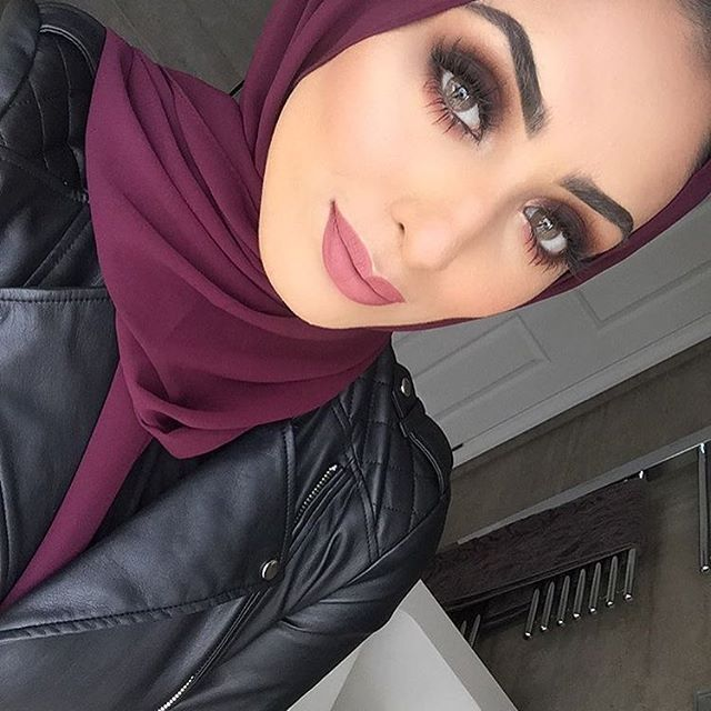Deep Burgundy Premium Chiffon Wrap contrasted by a leather jacket.  They complement each other flawlessly. @beauty.by.aisha #hijab #fashion #hijabfashion #modestfashion #ootd