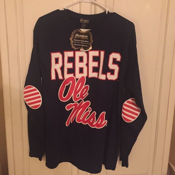 Ole Miss Game Day brand t-shirt New with tags, never worn! Really cute long sleeve t-shirt! Go Rebels!!❤️ Tops Tees - Long Sleeve