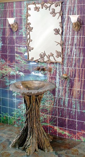 Elfen-Kitschbad, aber das Waschbecken ist knorke.