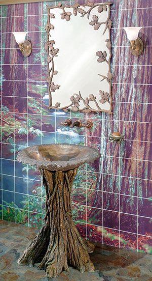 KidsBathroom Design, Ideas, Powder Room, Kids Bathroom, Fairy Tales, Birds Bath, Trees Stumps, Outdoor Bathroom, Fairies Tales