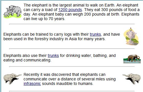 """This is an image from this resource on the Internet4Classrooms' """"Sixth Grade Language Skill Builders - Reading Comprehension"""" resource page:    Stated Information.    Online story about elephants and a quiz."""