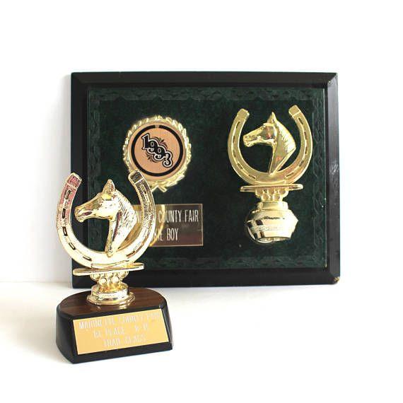 Vintage Horse Trophy & Plaque / 90s Wood Metal Marinette