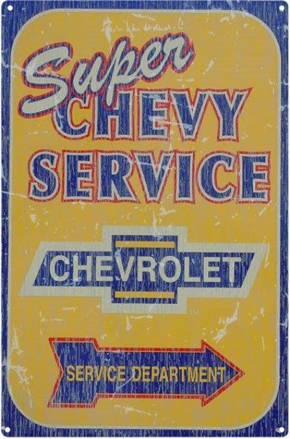 Rustic Super Chevy Service Garage Nostalgic Tin Sign #m739