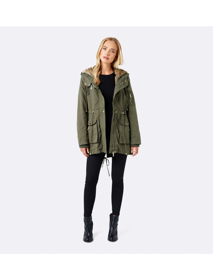 Layer up in style with our Sasha Faux Fur Hood Parka, perfect to add a little polish to any ensemble.