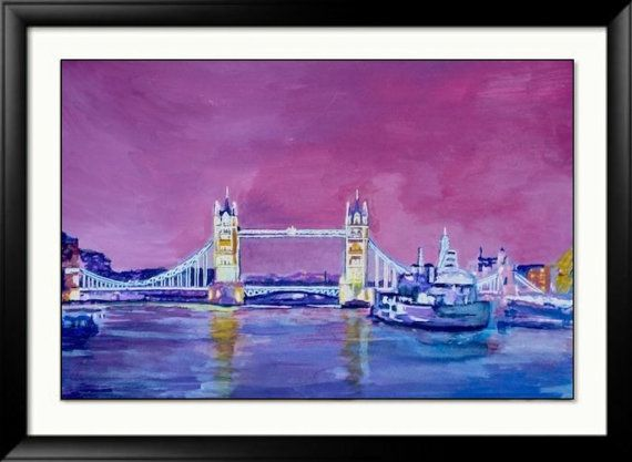 London Painting Thames - Abstract london -Purple Blue- Tower bridge - HMS Belfast - Signed Print -29.7 x 42.0cm, 11.69 x 16.53 inches
