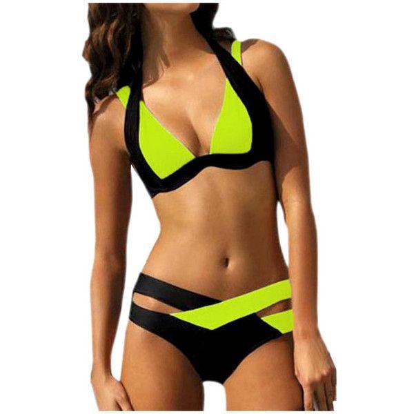 Women's G63 Sexy Women Bikini Set Bandage Push Up Padded Swimwear... ($9.68) ❤ liked on Polyvore featuring swimwear, bikinis, push up bikini, yellow bikini, push-up bikinis, sexy swim suits and push up bikini swimwear