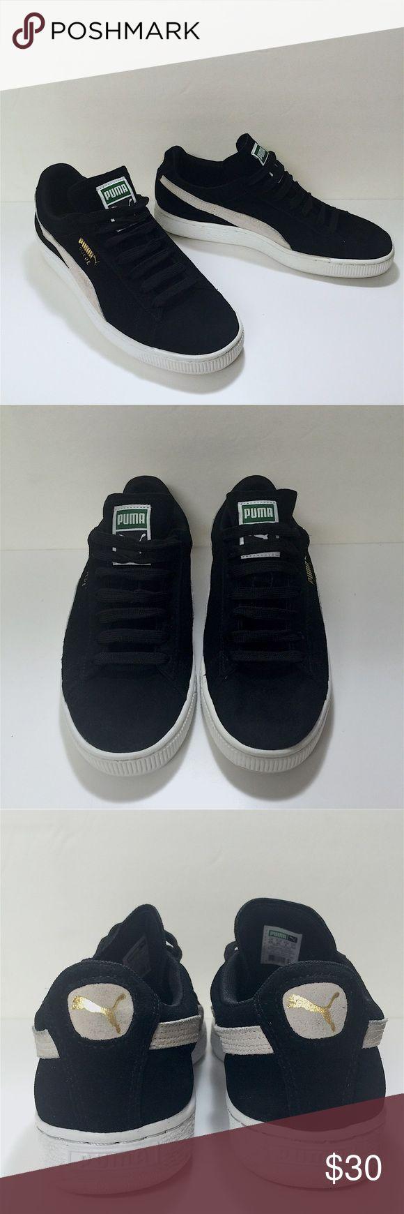 Black PUMA suede tennis shoes Black PUMA suede tennis shoes. Black suede and off white colored suede, white rubber bottoms. Women's US size 9, worn once, great condition! Puma Shoes Athletic Shoes