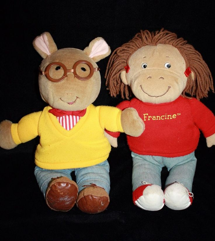"Eden 1996 ARTHUR & FRANCINE 14"" Soft Toy Stuffed Plush Dolls Set of 2 Marc Brown  