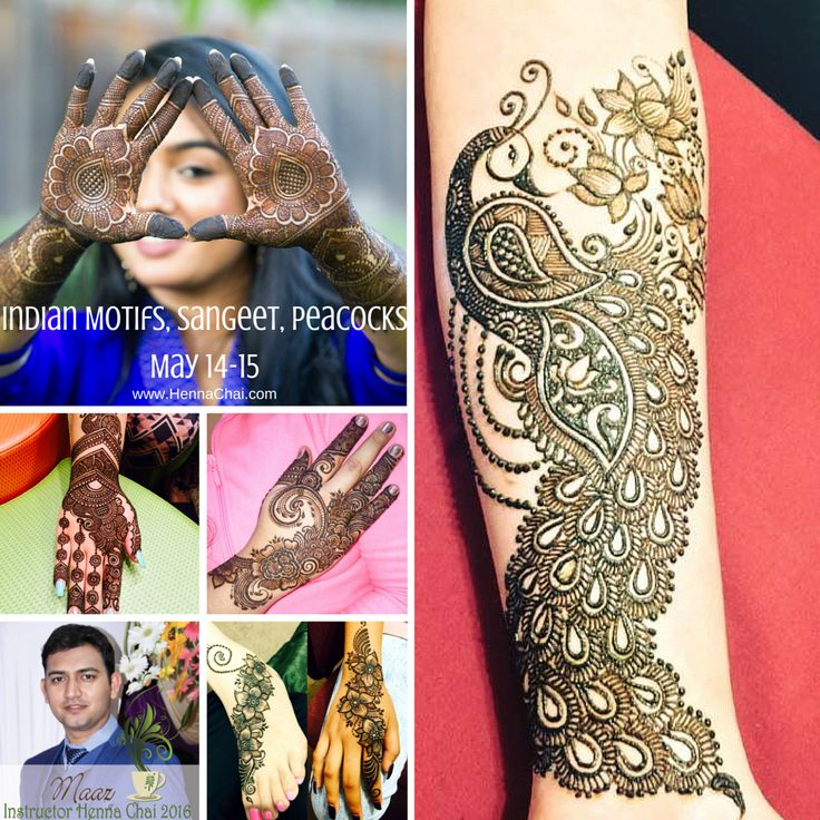 Indian Motifs, Sangeet & Peacocks with Maaz May 14&15. Henna Classes for all levels. Online, Live, Recorded OR in studio. Register at www.hennachai.com