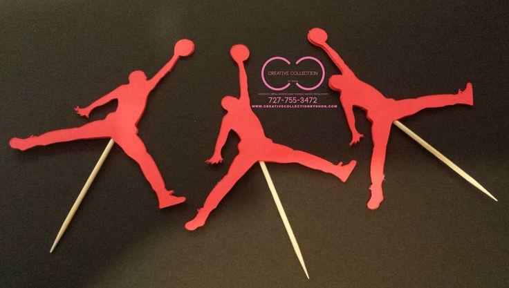 Jumpman cupcake toppers (sold in sets) | Michael Jordan Jumpman Theme Party | Pinterest | Ball ...