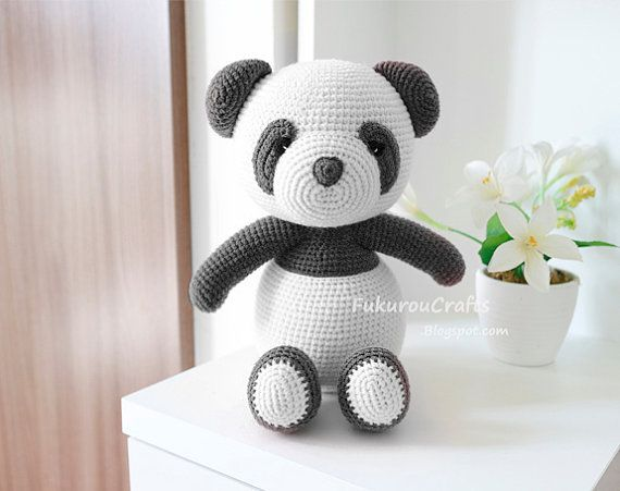 Pattern: Crochet Pink Panda Bear doll. от FukurouCrafts на Etsy