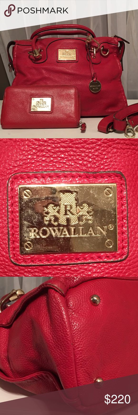 Rowallan Red Pebbled Leather Bag & Wallet Rowallan of Scotland Red Pebbled Leather Handbag and Wallet  *please see separate listing with detailed pictures of wallet matching the red pebbled leather handbag. Not sold separately.   Please check pictures carefully for wear. Rowallan Bags Satchels