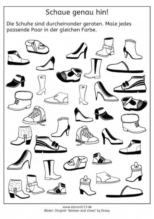Wahrnehmungstraining mit Schuhen, Legasthenie, visuelle Wahrnehmung, räumliche Wahrnehmung, kostenlos, Arbeitsblatt, Eltern, Kinder, Schule, Förderunterricht, Grundschule, Freiarbeit
