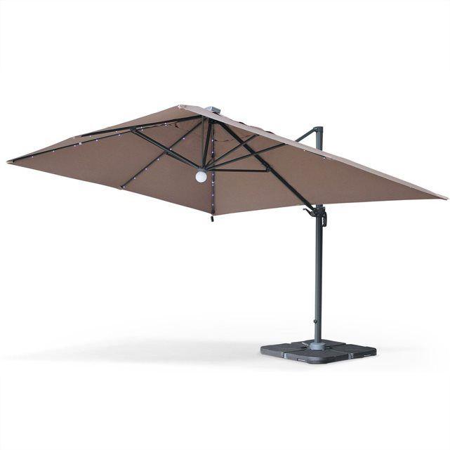 Parasol déporté solaire LED 3x4m Luce Taupe, haut de gamme avec lumière intégrée ALICE S GARDEN