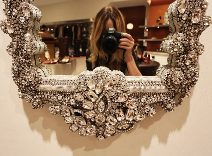 Crystal Framed Wall Mirror Want Sparkle Glitter