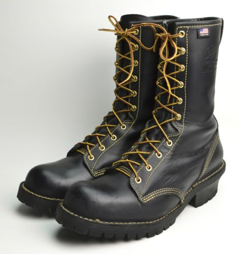 DANNER FLASHPOINT Black Leather LOGGER PACKER WORK NFPA Certified ...