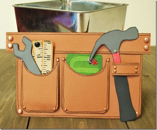 Tool belt (gift card holder) but OMGosh! what a cute border idea! Instead of gift cards tuck journal cards!