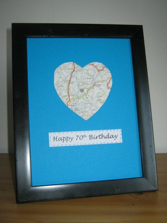 Birthday Map Heart Personalised Anniversary gift by MooseintheMint
