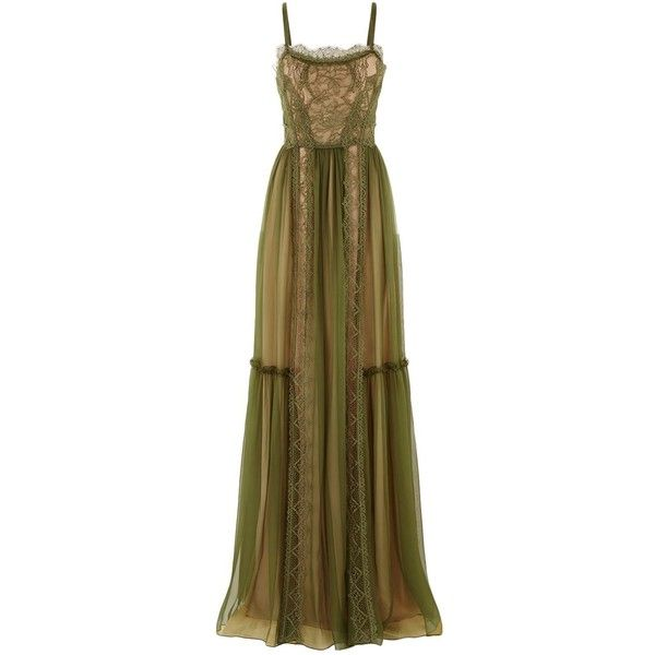 Alberta Ferretti Lace Detail Chiffon Cami Gown (€2.325) ❤ liked on Polyvore featuring dresses, gowns, loose fit maxi dress, maxi dresses, brown camisole, brown maxi dress and spaghetti-strap maxi dresses