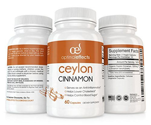 Organic Ceylon Cinnamon Supplement by Optimal Effects - Promotes Heart Health Lowers Blood Sugar Levels. Has Circulation & Weight Loss Support, True Cinnamon from Sri Lanka -1200mg 60 Veggie Capsules * Be sure to check out this awesome product.